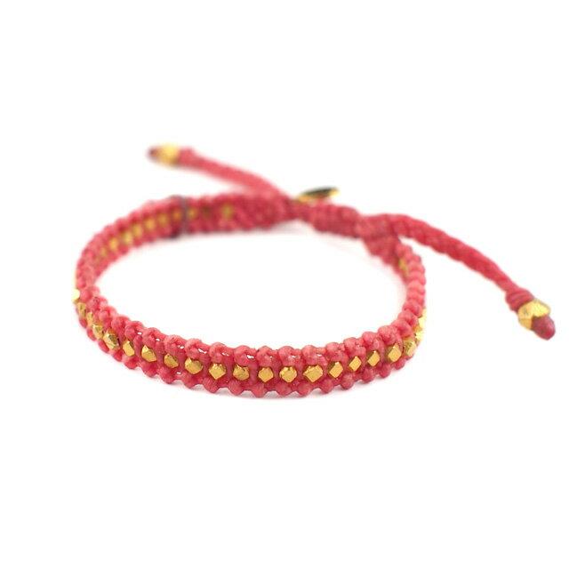【現貨商品】【M.Cohen】迷你塊珠桃紅色蠟線編織手環(MC-B-10614-G-DarkPink  07702600K3) 0