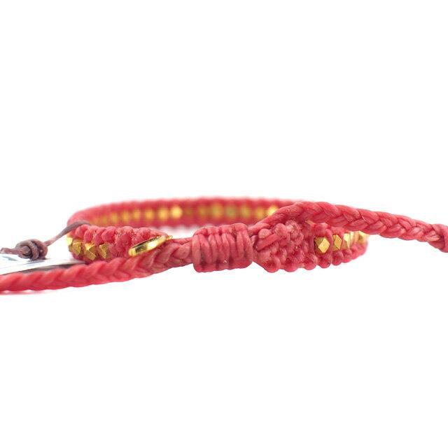 【現貨商品】【M.Cohen】迷你塊珠桃紅色蠟線編織手環(MC-B-10614-G-DarkPink  07702600K3) 1
