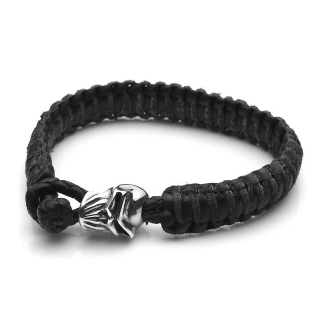 【海外訂購】【STARLINGEAR】Brotherhood 劍齒骷髏黑色編織皮手環(STLB013Jun  0597060000) 0