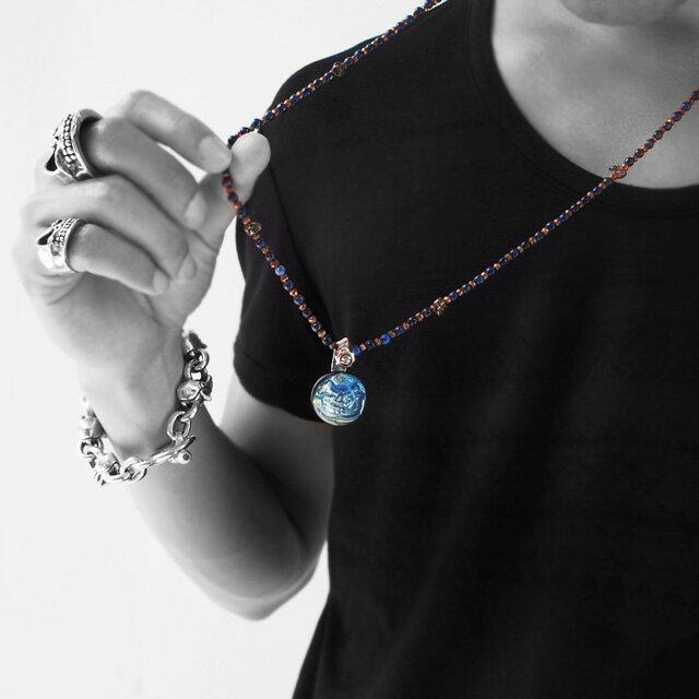 【現貨商品】【STARLINGEAR】藍色大理石骷髏純銀墜飾(STP066  0436860000) 3