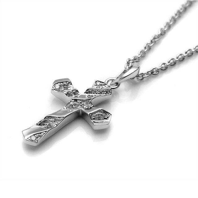 【海外訂購】【Velvet Lounge】信仰十字架鑲鑽純銀項鍊 50cm (V-VLP056W  0622440000) 1