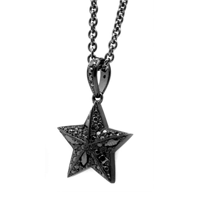 【海外訂購】【Velvet Lounge】星星鋪鑽酷黑純銀項鍊 50cm (V-VLP059B  0622470000) 0