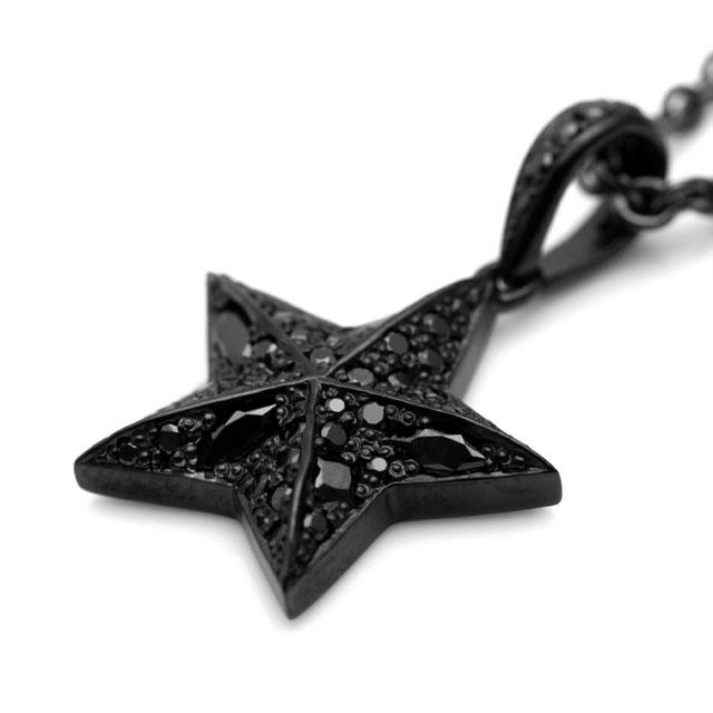 【海外訂購】【Velvet Lounge】星星鋪鑽酷黑純銀項鍊 50cm (V-VLP059B  0622470000) 1