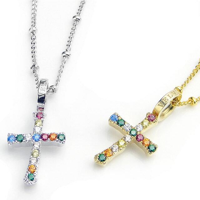 【海外訂購】【Velvet Lounge】彩鑽造型十字架純銀項鍊(V-VLP091W  0654050000) 1