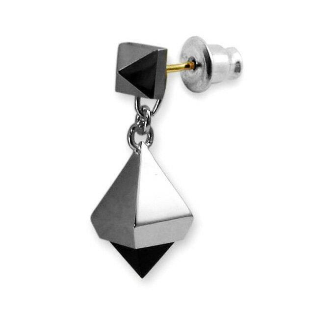【現貨商品】【Velvet Lounge】黑色瑪瑙幾何鉚釘純銀耳環(V-VLE004-O  0620520000) 0
