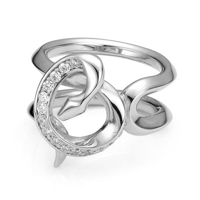 【海外訂購】【Velvet Lounge】Bind 制約蛇型鑲鑽純銀戒指 (V-VLR068W-Cz) 0