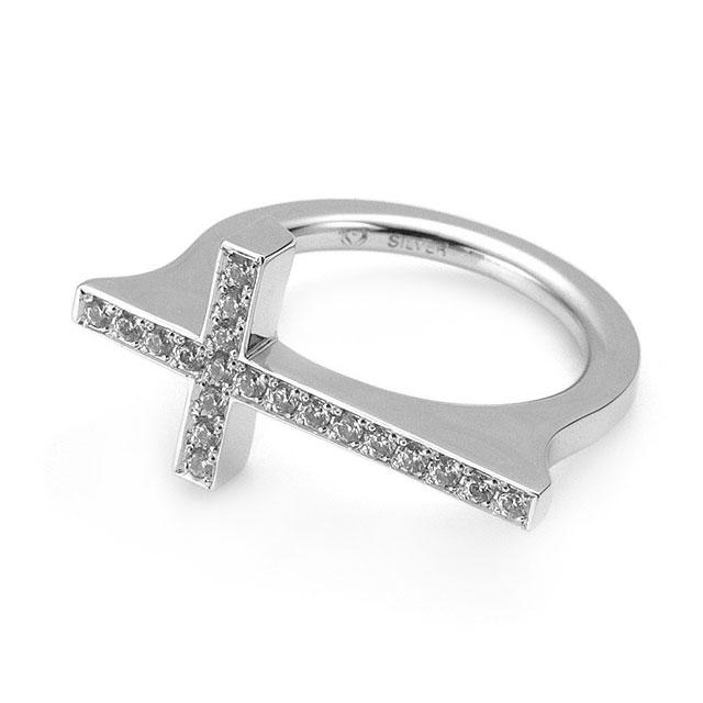 【海外訂購】【Velvet Lounge】Luxury 鋪鑽十字架純銀戒指(V-VLR080W-Cz-Clear) 0
