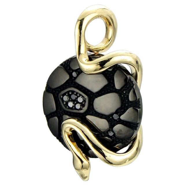 【海外訂購】【Velvet Lounge】Geometry 幾何蛇型18K金黑鑽石墜飾 (V-VLP079B-SK-BD  0623440000) 0