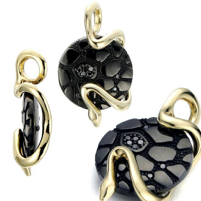 【海外訂購】【Velvet Lounge】Geometry 幾何蛇型18K金黑鑽石墜飾 (V-VLP079B-SK-BD  0623440000) 1