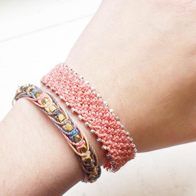 【現貨商品】【wakami】輕粉橘串珠編織手環(WA0544-03  0778670000) 5