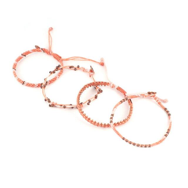 【現貨商品】【wakami】杏桃色系串珠編織手環四條(WA2014-03  0680970000) 3