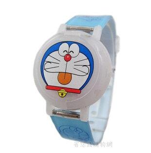 《省您錢購物網》全新~哆啦A夢Doraemon 小叮噹圓形掀蓋式電子錶-藍色*2支