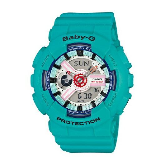 CASIO BABY-G BA-110SN-3A藍綠雙顯流行腕錶/白面43.4mm