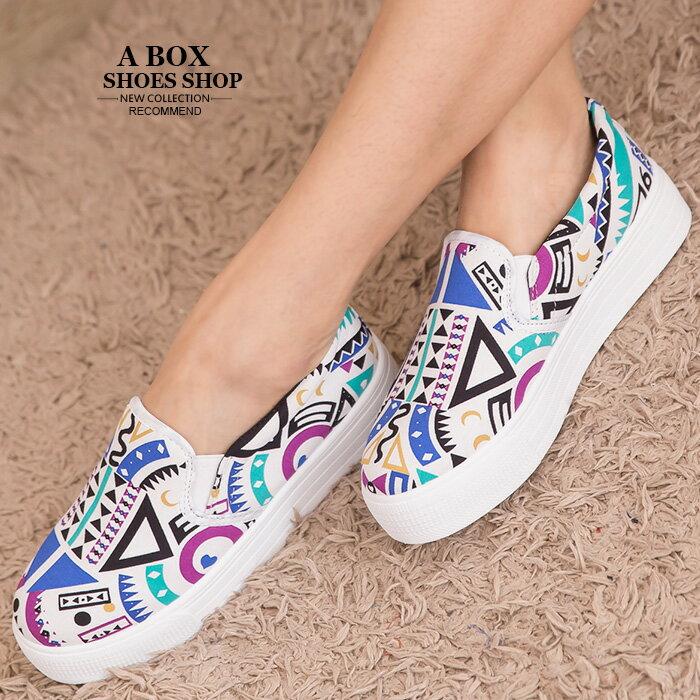 格子舖*【AS893】個性超值繽紛撞色幾何圖騰 增高厚底鬆糕鞋 懶人鞋 帆布鞋 3色 1