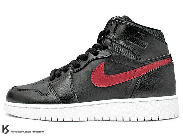 2015 最新 1985 年經典復刻款 九孔鞋洞 NIKE AIR JORDAN 1 RETRO HIGH BG GS RARE AIR BLACK RED BRED 大童鞋 女鞋 黑紅 黑紅白 皮革 鞋舌 貼布 AJ (705300-012) !