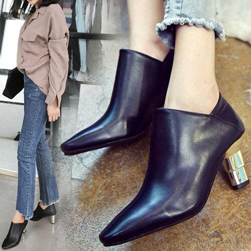 高跟鞋-皮革兩穿金屬跟型高跟短踝靴