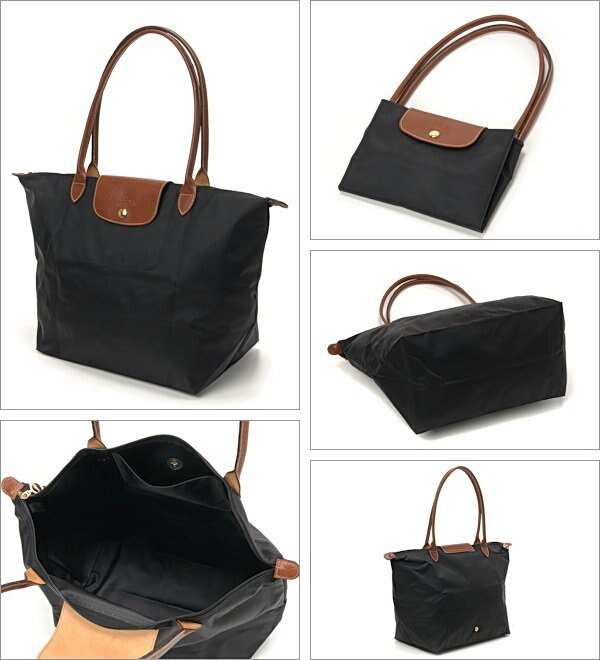 [1899-M號] 國外Outlet代購正品 法國巴黎 Longchamp 長柄 購物袋防水尼龍手提肩背水餃包黑色 2