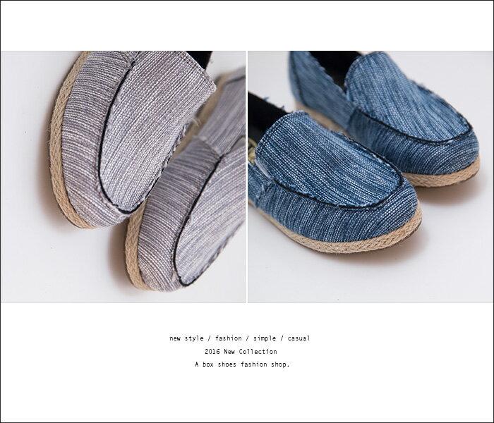 格子舖*【AA680】MIT台灣製 編織色線不規則刷邊牛仔布 休閒風懶人鞋 布面鞋 3色 2