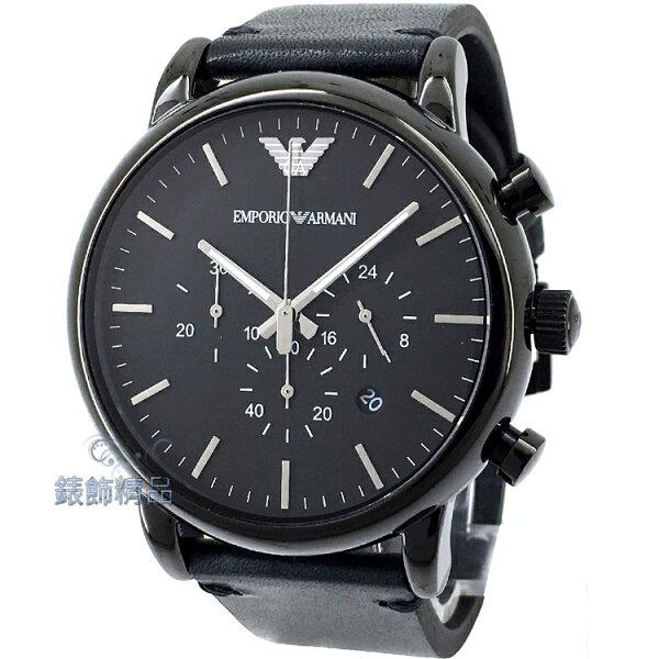 【錶飾精品】ARMANI手錶 亞曼尼表 都會優雅時尚 日期 三眼計時 黑面黑框 黑色皮帶男錶 AR1918 全新原廠正品