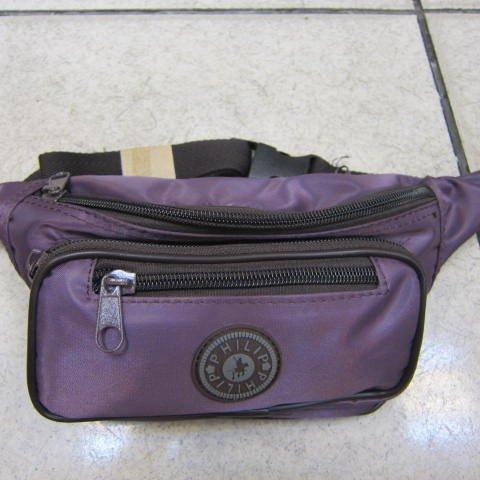 ~雪黛屋~PHILIP 腰包 隨身物品包 運動休閒隨身包 防水尼龍布材質 防竊盜必備款輕便型 深紫