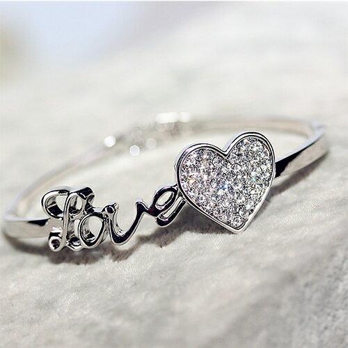 手環 - 氣質LOVE字母鑽石愛心手鐲【21557】 藍色巴黎《2色》現貨+預購 2