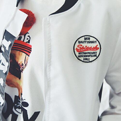 上衣 - 原宿風Let's GO滑面棒球外套【29152】藍色巴黎《2色》現貨 + 預購 3
