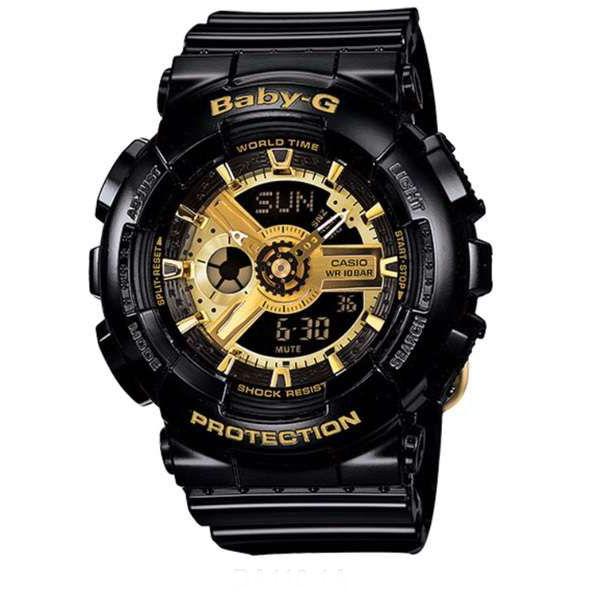 國外代購CASIO BABY-G BA-110-1A 黑金 雙顯 防水 手錶 腕錶 情侶錶 女生聖誕交換禮物 0