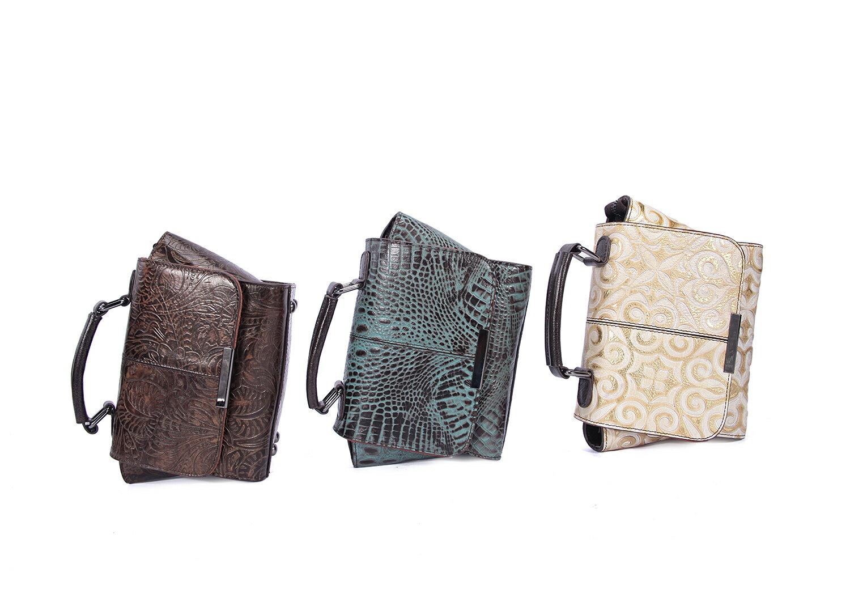 【BEIBAOBAO】文青米蘭真皮壓紋隨身包(琉璃藍  共三色) 1
