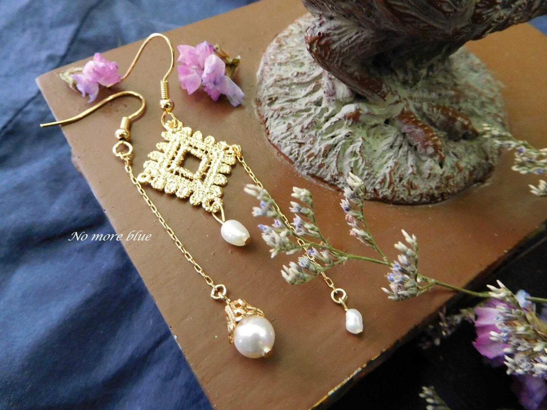 No more blue 雪花方蕾絲耳環^(施華洛世奇水晶珍珠 黃銅 24K金 天然珍珠