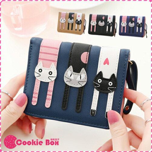 三隻 小貓 短夾 貓咪 錢夾 錢包 皮夾 零錢 吊飾 拉鍊 仿韓版 多卡 多格 大容量 可愛 相片 *餅乾盒子*