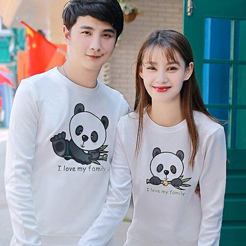 ◆快速出貨◆刷毛T恤 圓領刷毛 情侶T恤 暖暖刷毛 MIT台灣製.大貓熊家族【YCS407】可單買.艾咪E舖 1