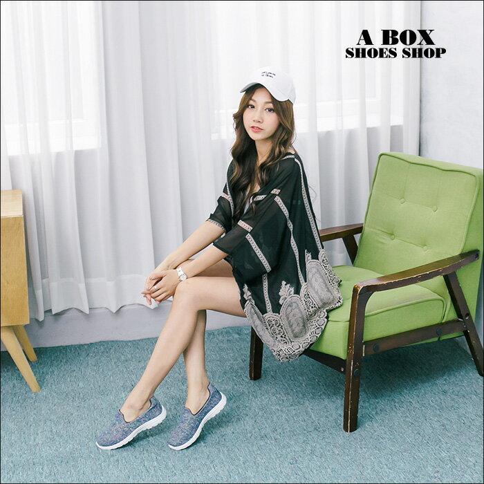 格子舖*【KBA-35】MIT台灣製 透氣柔軟針織布面 懶人鞋 輕量鞋 健走鞋 慢跑鞋 2色 1