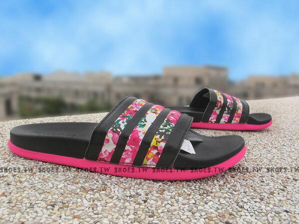 Shoestw【S78041】ADIDAS Supercloud 拖鞋 超柔軟底 黑 花卉