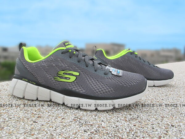 Shoestw【51533CCLM】SKECHERS 健走鞋 Relaxed FIT 記憶泡棉鞋墊 灰螢光綠 男款