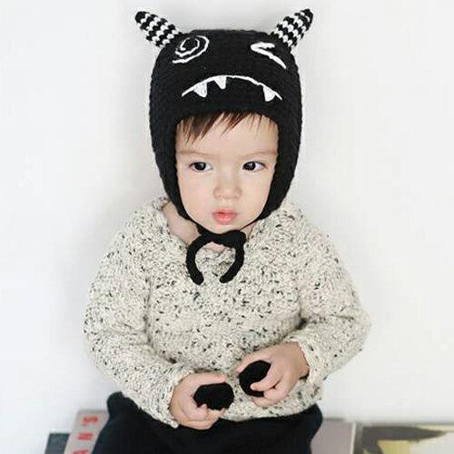 毛帽 萌卡通可愛綁帶針織毛線帽【YJM-A160】 BOBI  10/13 0