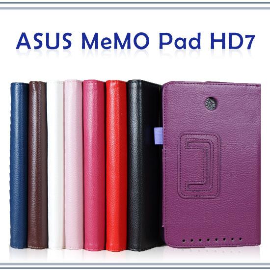 【側掀斜立、書本式】華碩 ASUS MeMO Pad HD7 ME173X ME173 K00B 平板 荔枝紋保護皮套/筆記本式翻頁保護套/帶筆插/展示型
