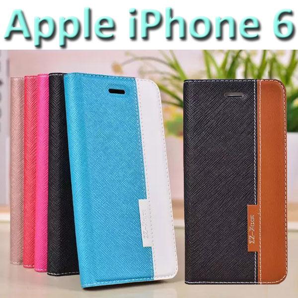 【吸合式】Apple iPhone 6/6S 4.7吋十字紋皮套/書本翻頁式側掀保護套/側開插卡手機套/斜立支架保護殼