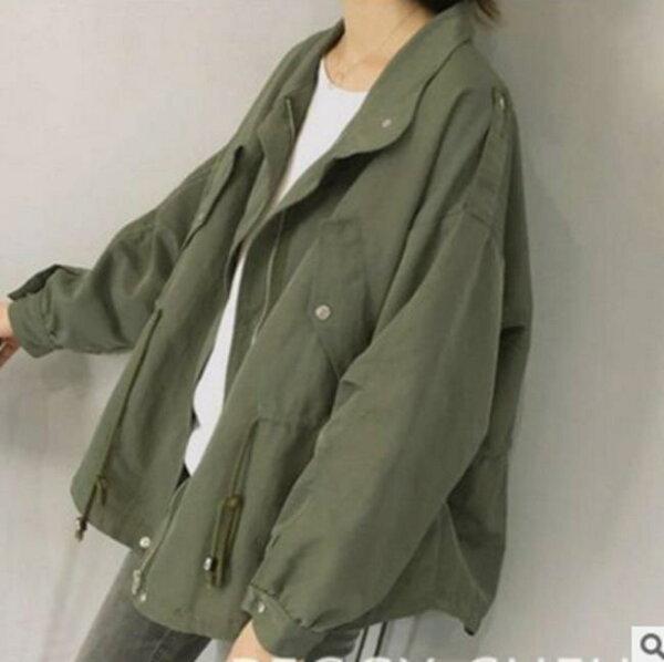 50%OFF【G017869C】秋冬版型絕佳A字寬鬆斗篷式廓型工裝短款外套夾克風衣女