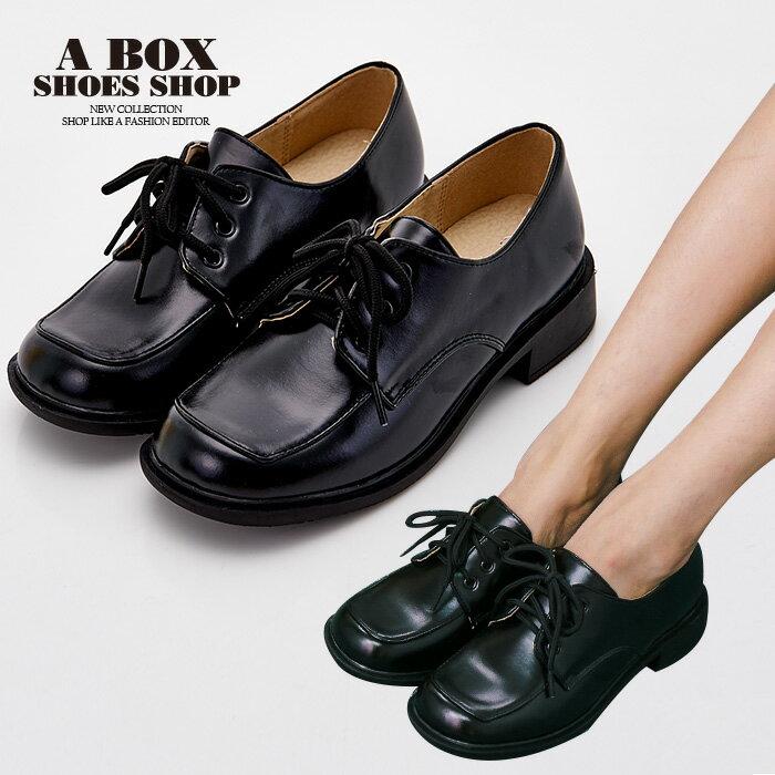格子舖*【KBCD-016】MIT台灣製 學院風透氣亮皮 3cm粗低跟 綁帶款學生皮鞋 休閒皮鞋 黑色 0