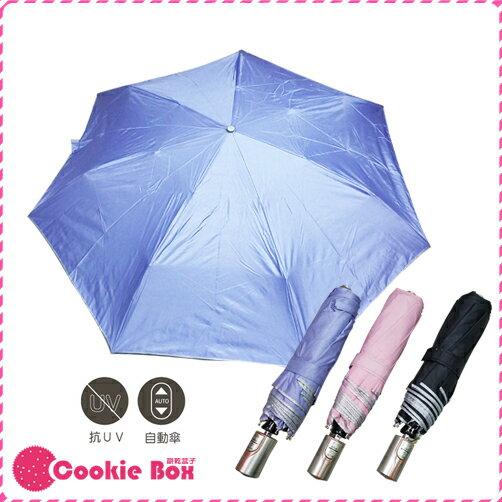 *餅乾盒子* 閃光布 素布 三折 AOC 雨傘 折疊傘 折傘 自動傘 不透光 抗UV 遮陽傘 防曬 輕量 安全 不夾手