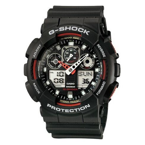 CASIO G-SHOCK GA-100-1A4經典黑紅雙顯流行腕錶/黑面51mm