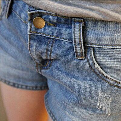 短褲 - 雙側拉鏈抓破牛仔短褲【23272】藍色巴黎 - 現貨商品 2