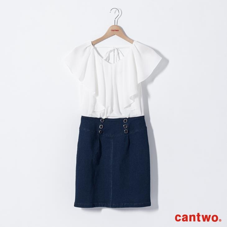 cantwo雪紡荷葉丹寧洋裝(共二色) 7