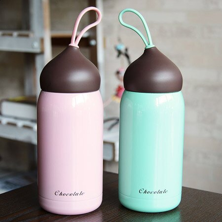 巧克力掛繩保溫杯 300mL 304不銹鋼 保冷 隨身瓶 隨行杯 環保杯 水瓶 水壺~N2