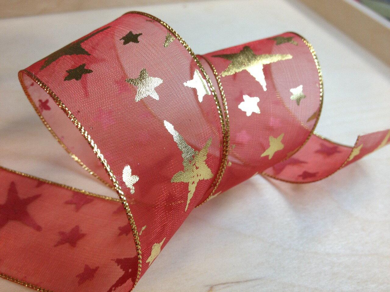 網紗緞帶-聖誕彩色星星 38mm 3碼裝 (5色) 2