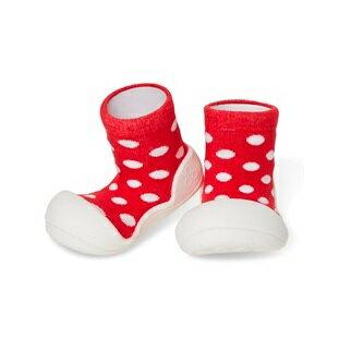 【本月特價$599】韓國【Attipas】快樂腳襪型學步鞋-圓點紅 0