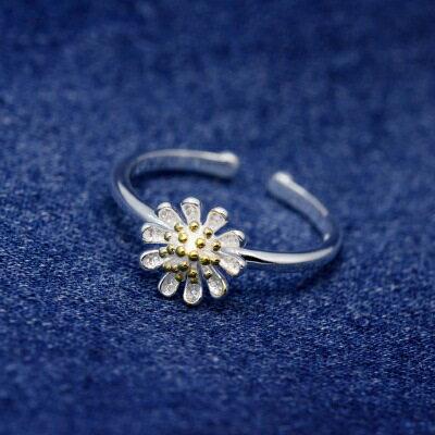 925純銀戒指開口戒~典雅艷麗花朵 生日情人節 女飾品73dt428~ ~~米蘭 ~ ~