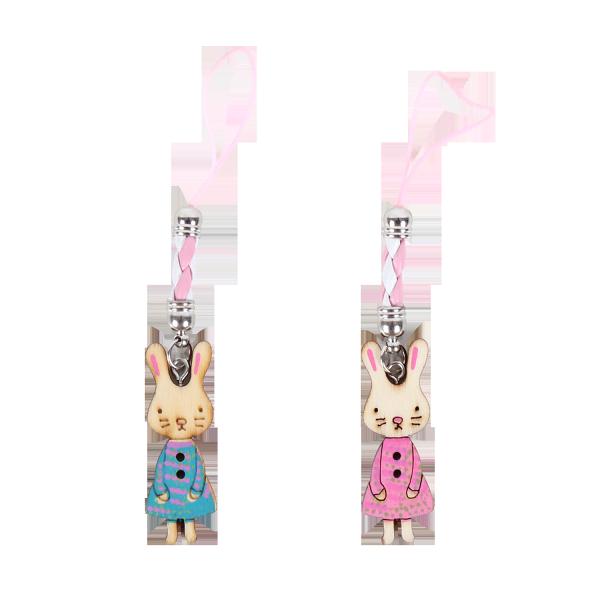 兔女孩木頭吊飾-可愛娃-免娃篇 手機吊飾 鑰匙圈吊飾