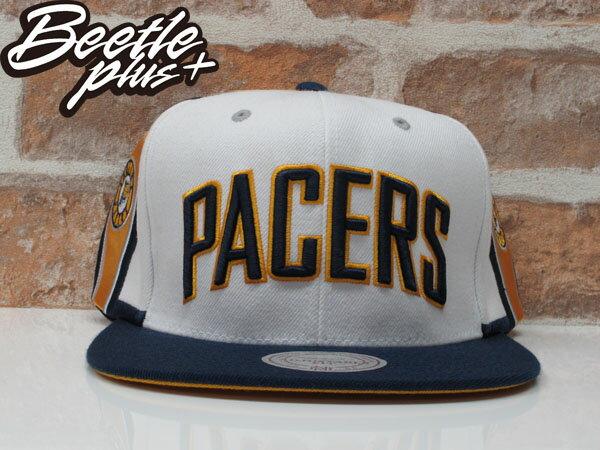 BEETLE MITCHELL&NESS NBA PACERS 印第安 溜馬 白藍黃 LOGO SNAPBACK 後扣帽 0