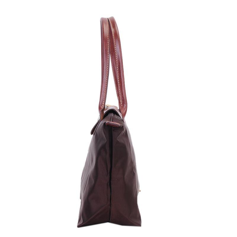 [2605-S號]國外Outlet代購正品 法國巴黎 Longchamp  長柄 購物袋防水尼龍手提肩背水餃包 咖啡色 2